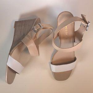 Franco Sarto Tan & White leather Wedge Sandals🌟